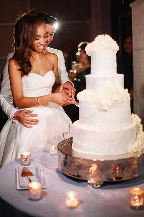 Four-Tier Wedding Cake with Ivory Hydrangeas