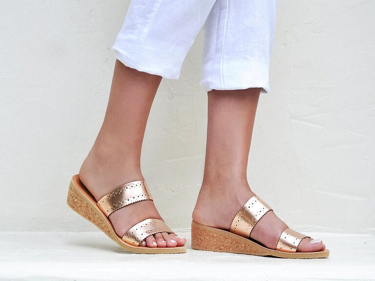 SAVOPOULOS Greek Miranda leather wedge sandals in Gold or Rose Gold