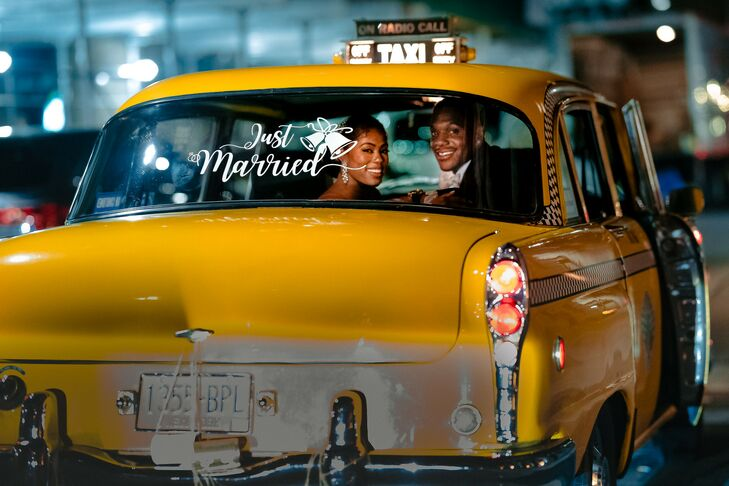 Couple in Yellow Taxi for Exit from New York City Wedding
