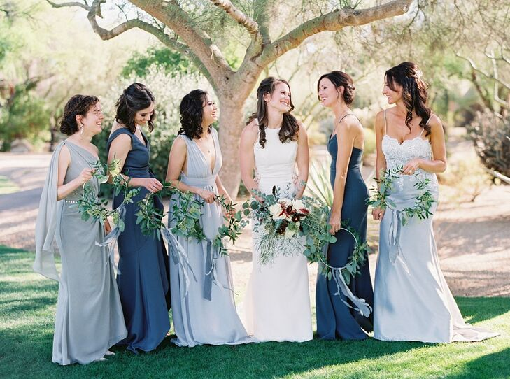 Bridesmaids with Mismatched Blue Dresses and Greenery Hoop Bouquets