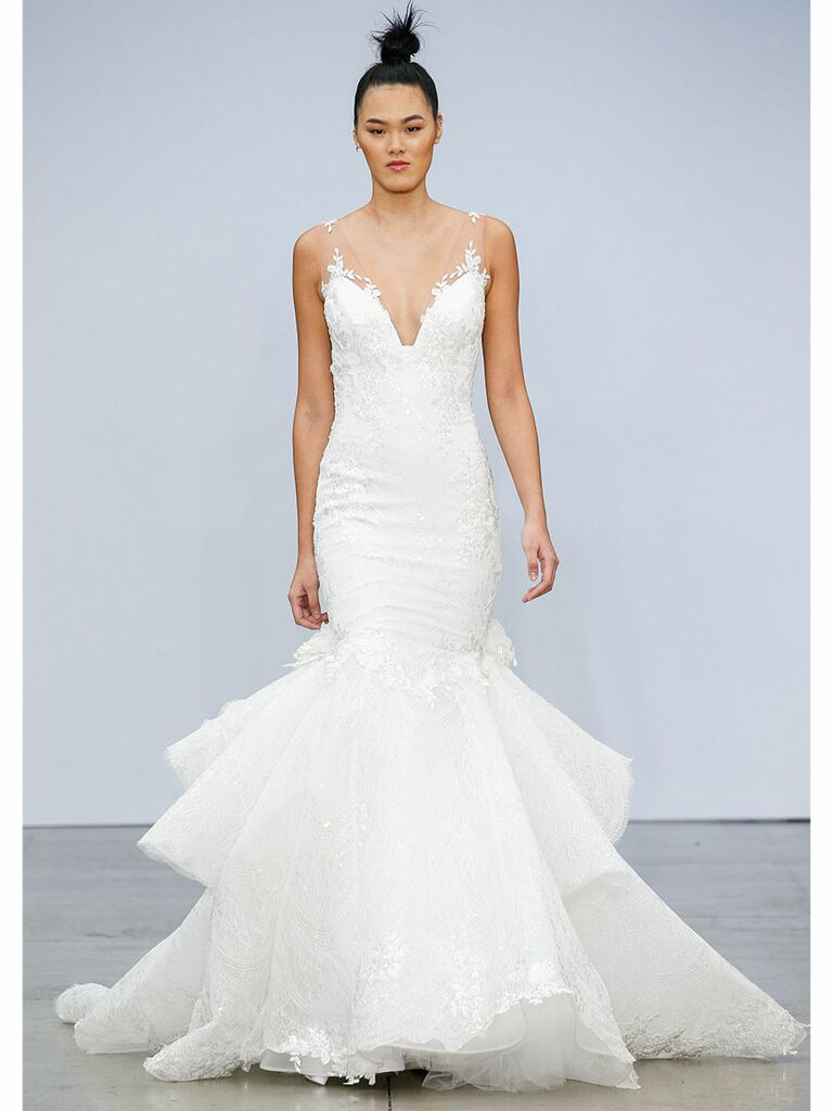 Pnina Tournai wedding dress lace mermaid gown with sheer sleeves