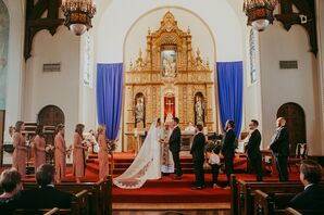 Traditional Catholic Church Wedding at Holy Family Catholic Church in Los Angeles
