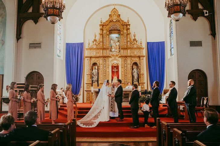 Traditional Catholic Church Wedding at Holy Family Catholic Church in Los Angeles