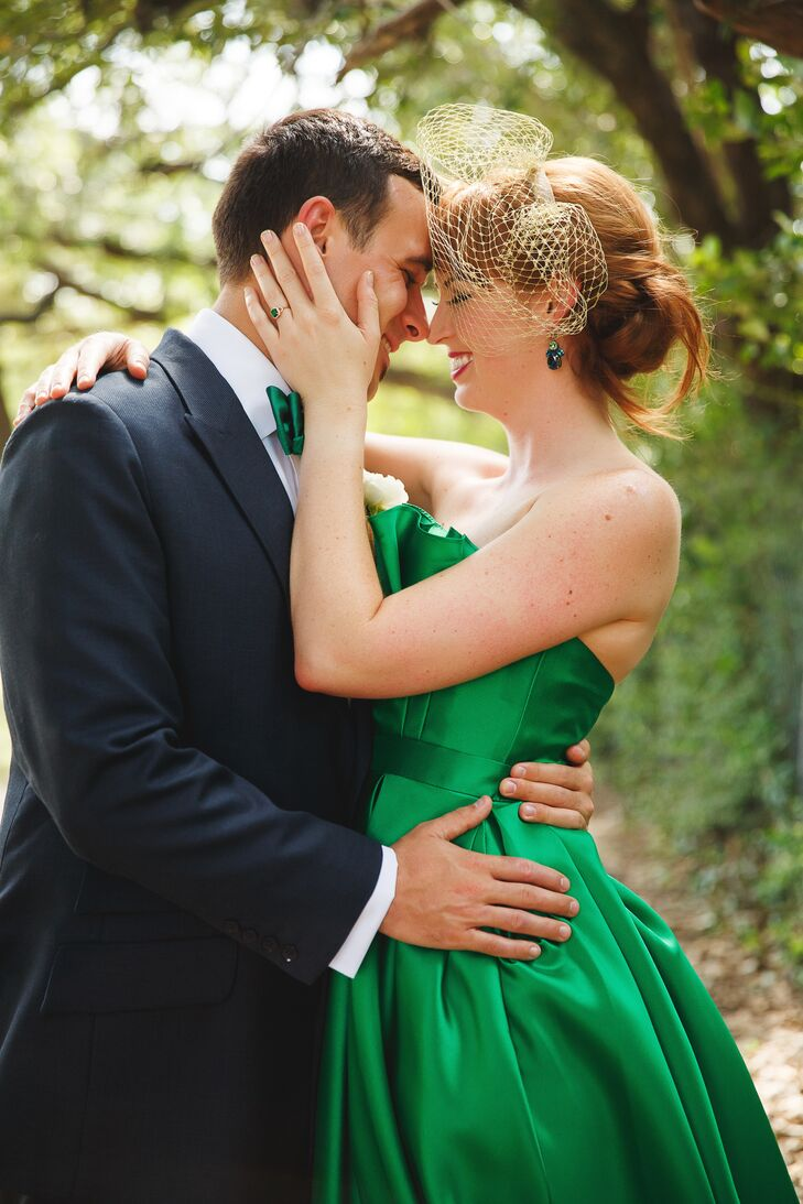 Emerald Wedding Dress With Emerald Engagement Ring