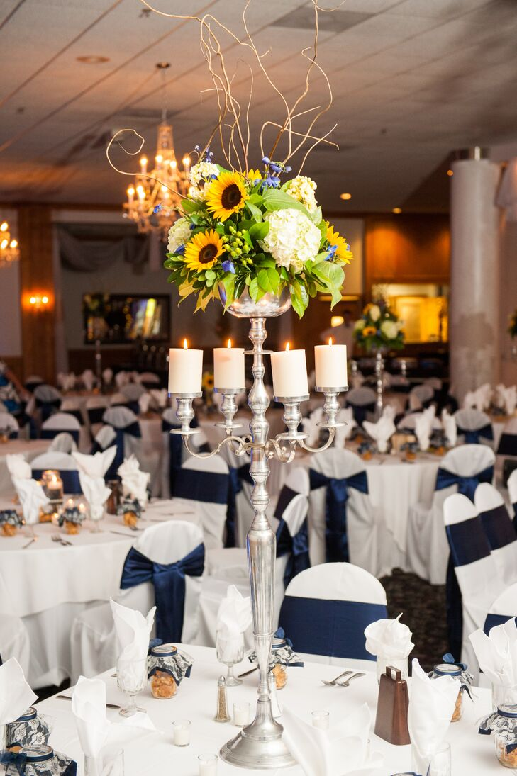 Tall Candelabra Centerpieces with Sunflowers