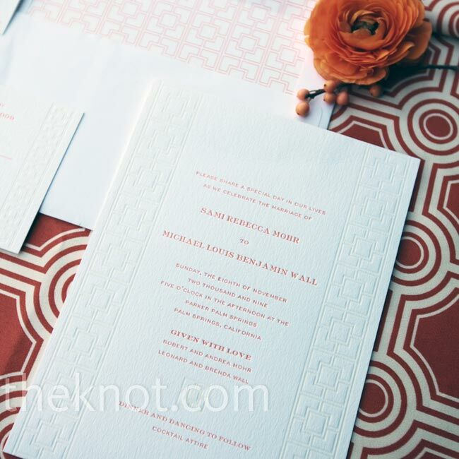Sami and her dad replicated the Parker Palm Spring's famous patterned concrete block wall on their invites.