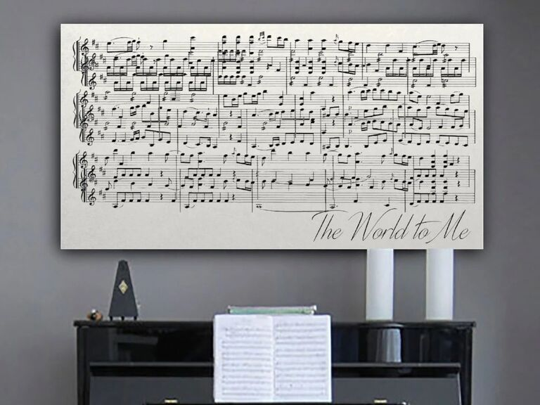 Canvas sheet music wall art displayed above piano