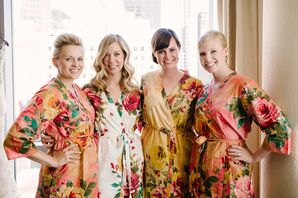 Bride and Bridesmaids Get Ready in Floral Robes and Updos in Chicago