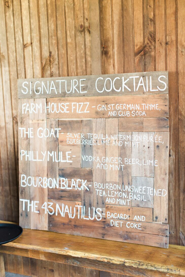 Signature Cocktails Wood Barn Sign