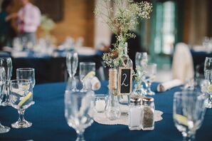 Navy Linens with Glass Centerpiece