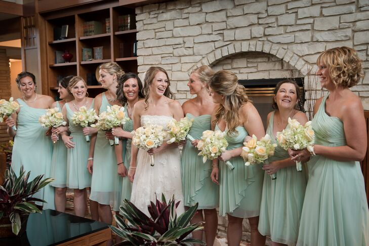 63f770d9dbc The bridesmaids wore mint green dresses from David s Bridal. Kim choose  three styles and let