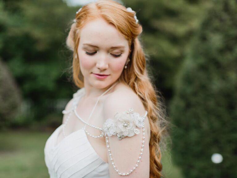 Silk floral wedding shoulder necklace
