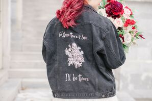 Bride Wearing Custom Black Denim Jacket