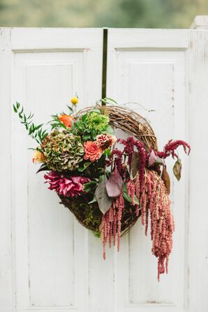 Hanging Amaranthus Door Wreath Decor