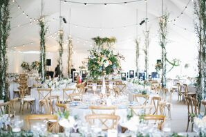 Tented Reception with Branches and Greenery Centerpieces