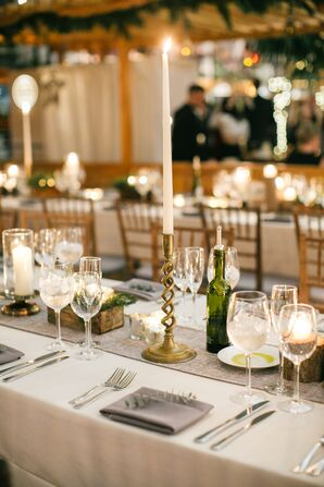 Gold Candlesticks at Chic JG Domestic Wedding