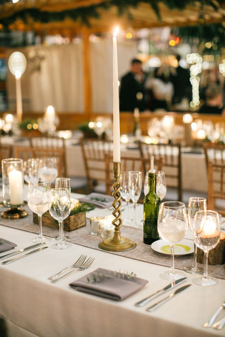 Gold Candlesticks at Chic JG Domestic Wedding