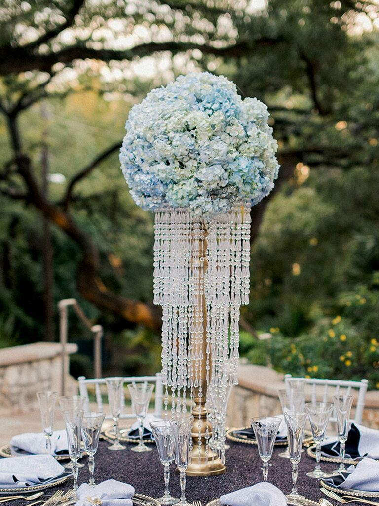 Bling wedding centerpiece with cascading crystals