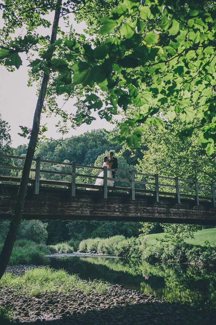 Romantic Newlywed Pose Over the Boscobel Estate Property