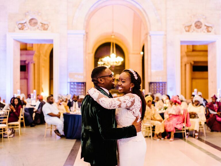 Couple having first dance at wedding reception