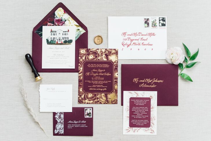 Burgundy Invitation Suite with Gold Foil Details and Illustration