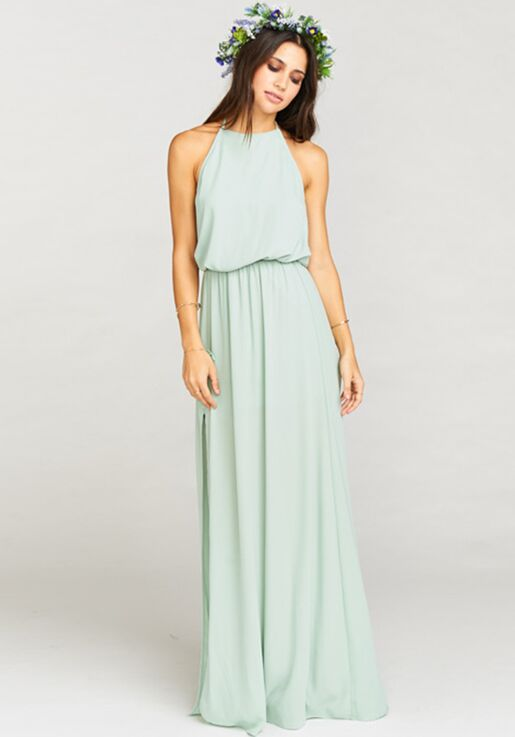 65e1bf8c18d8f Show Me Your Mumu Heather Halter Dress - Dusty Mint Crisp Halter Bridesmaid  Dress