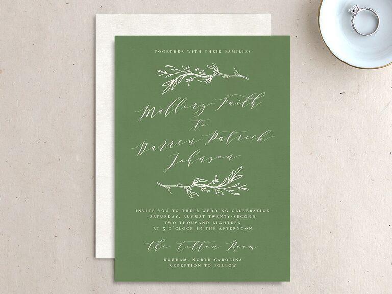 Rustic green wedding invitation