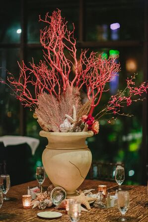 Nautical Coral, Gold and Taupe Hotel Galvez Decor