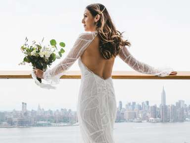 fitted wedding dress with open back detail