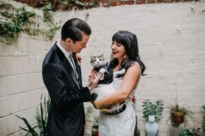 Couple Wedding Portraits with Cat at New Liberty Distillery in Philadelphia