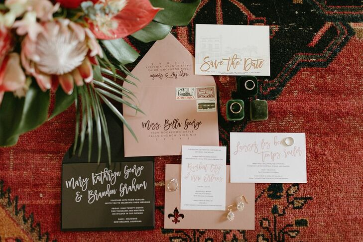 Bohemian Pink and Brown Wedding Invitations with Calligraphy