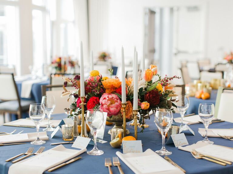 spring wedding centerpieces bold colored flowers