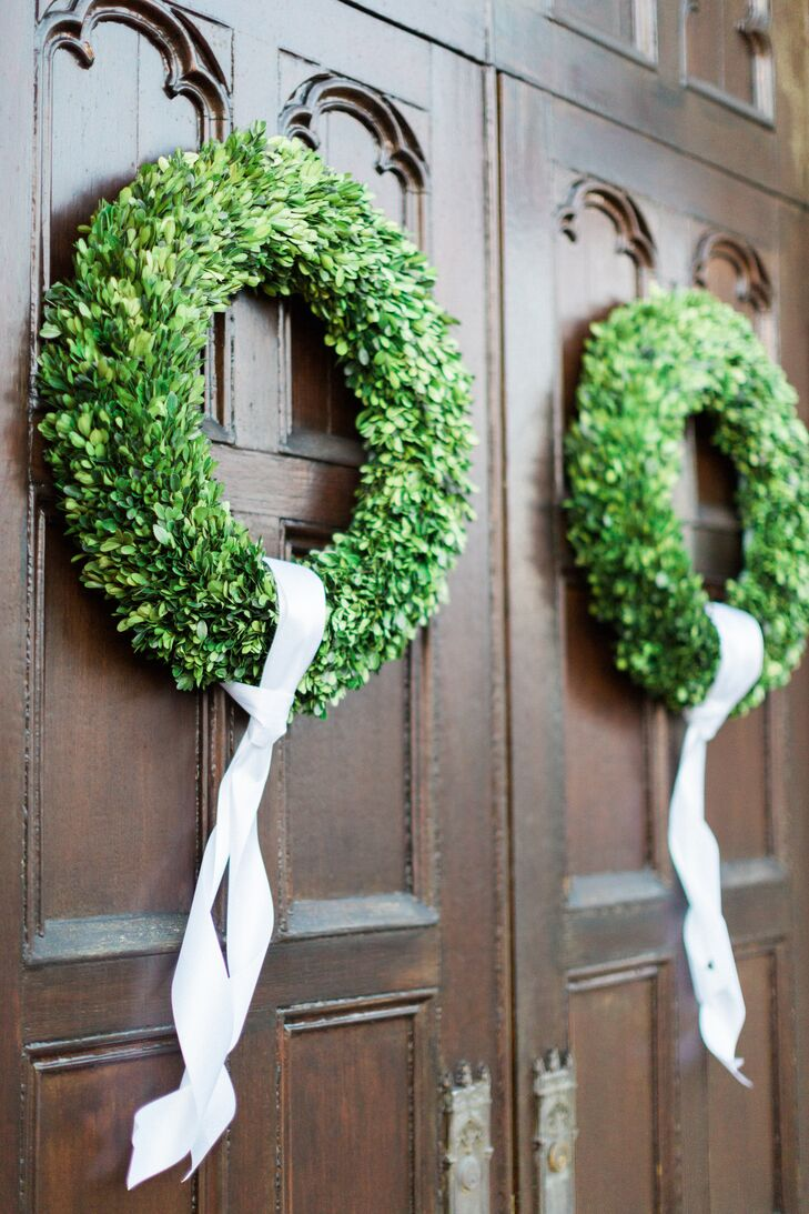 Elegant Wreath Church Door Decor