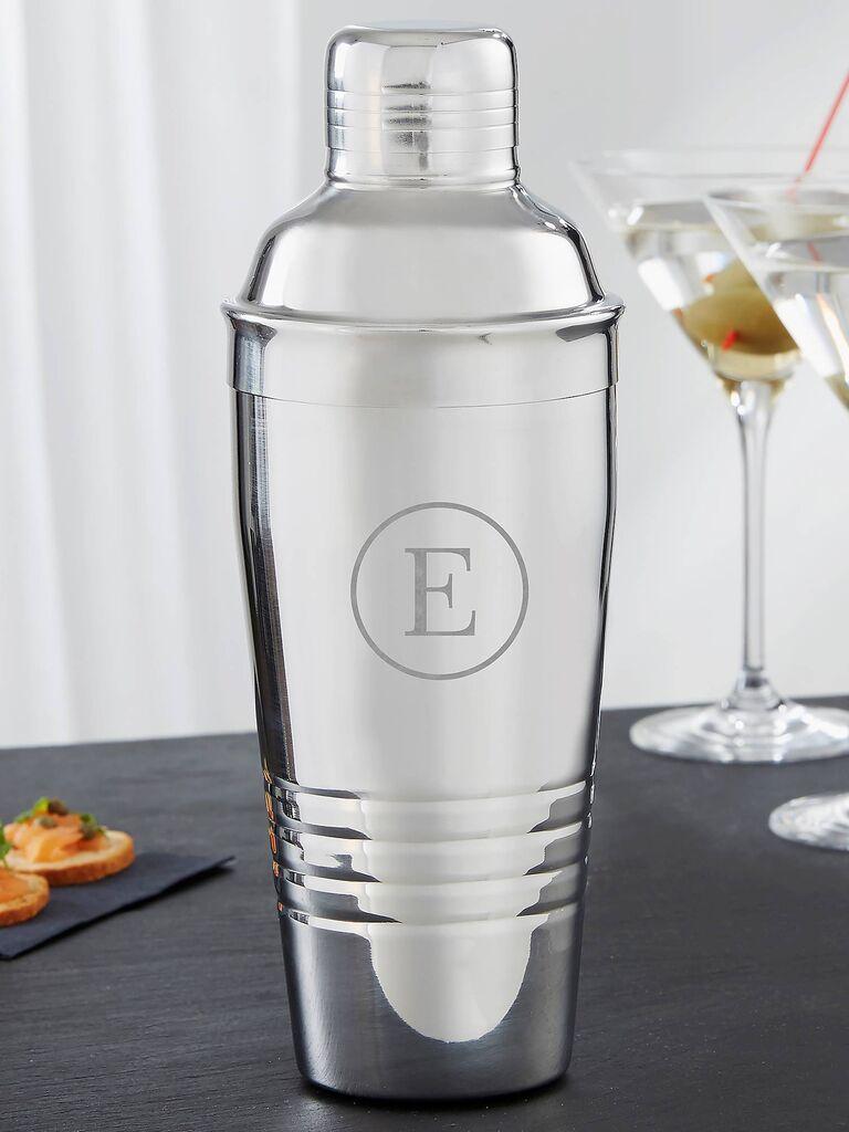 Monogrammed cocktail shaker bachelorette party gift