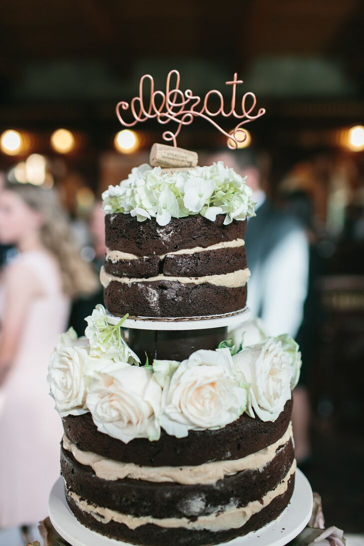 Chocolate Naked Cake with Fresh Rose Accents