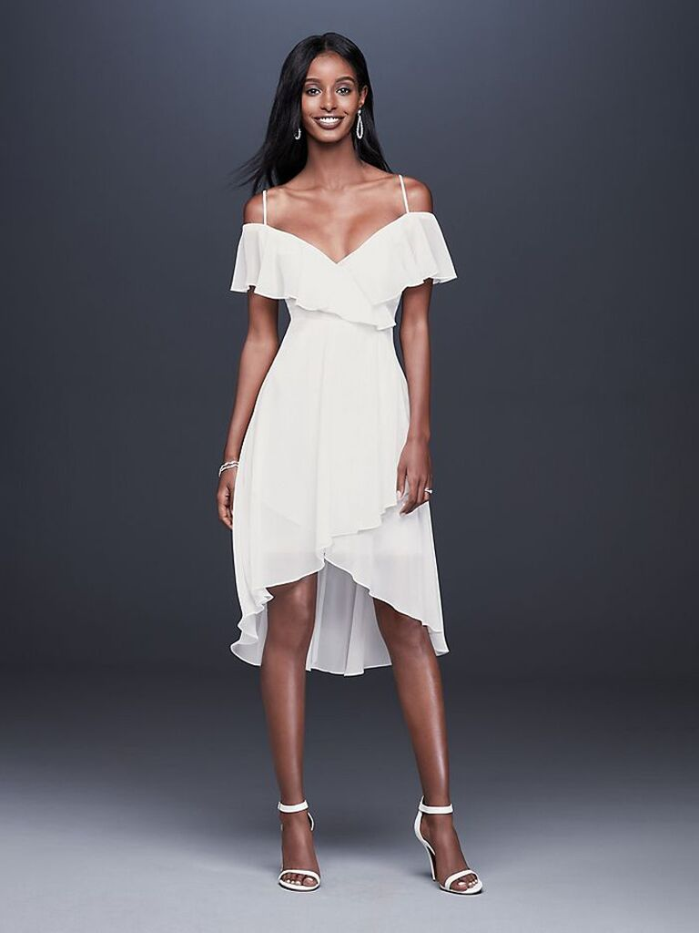 Flouncy cold-shoulder white engagement party dress