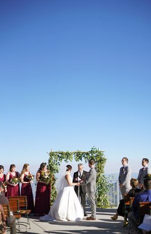 Simple Mountain Ceremony with Greenery Arch