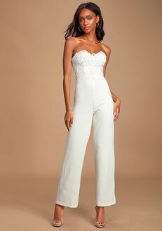 Lulus All Your Heart White Lace Strapless Jumpsuit Wedding Dress