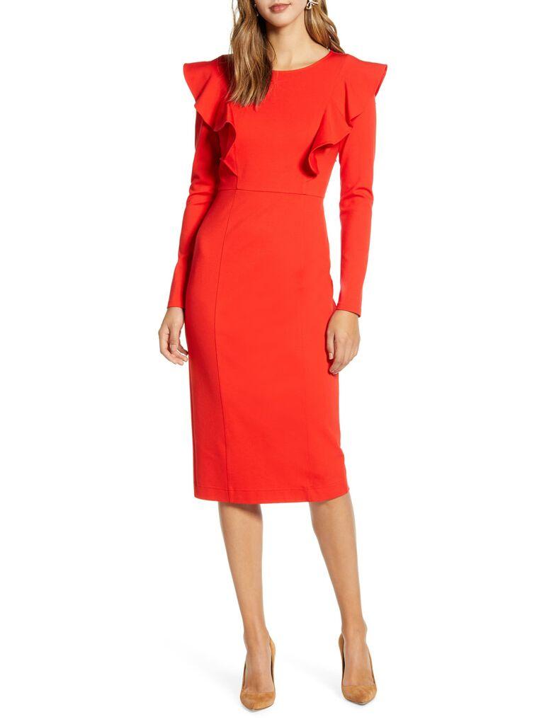 Red ruffle winter wedding guest dress