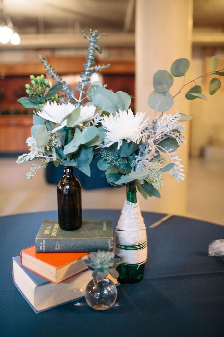 Green and White Bottled Flower Arrangements