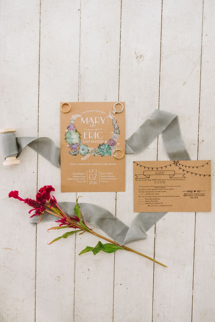Rustic Kraft Paper Invitations with Succulent Motif