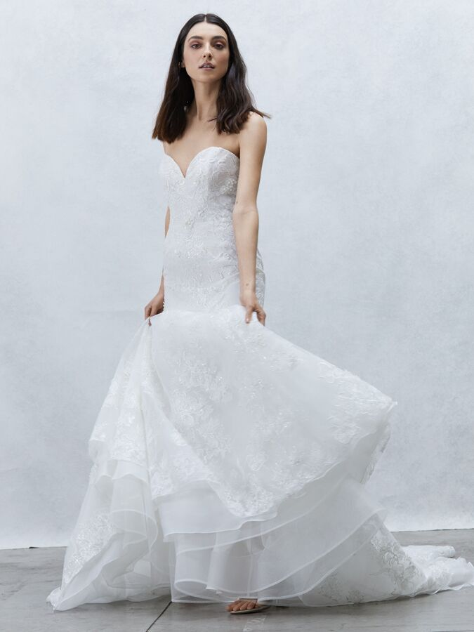 Alyne Collection strapless fit-and-flare wedding dress with beaded 3D floral lace