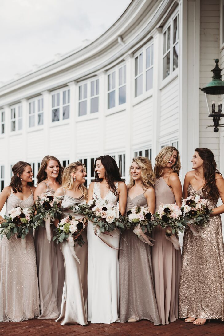Elegant Bridesmaids in Metallic and Neutral Dresses