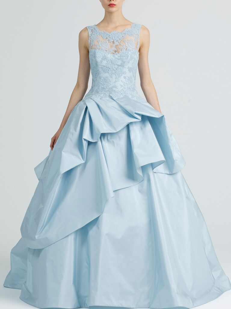 Light blue Kenneth Pool wedding ball gown