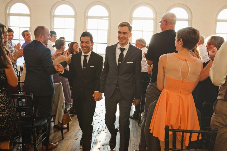 Recessional While Holding Hands Down Aisle