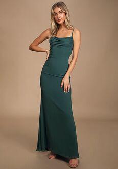 Lulus Captivated Emerald Green Cowl Neck Maxi Dress Bridesmaid Dress