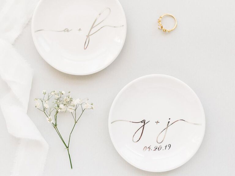 China ring dish personalized with couple's initials 2-year anniversary gift