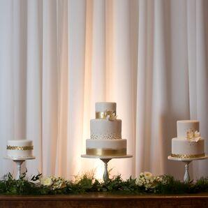 White and Gold Wedding Cake Trio