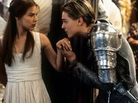 juliet home verona Claire Danes Leonardo DiCaprio takes her hand to kiss in scene from the film 'Romeo + Juliet', 1996.