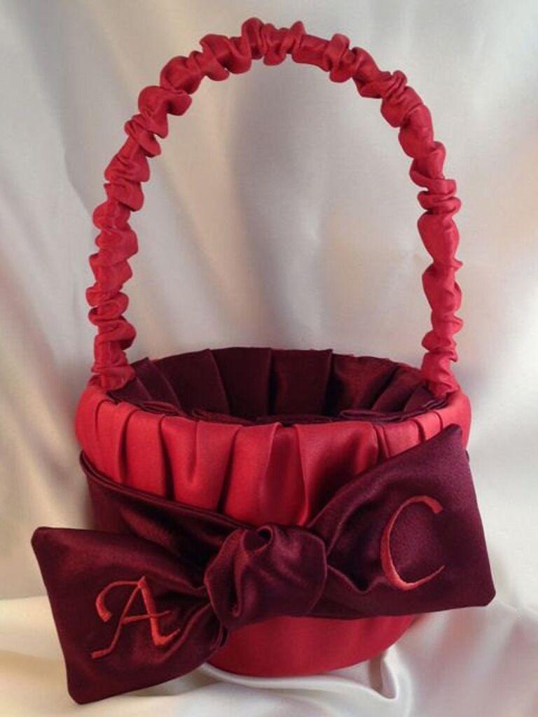 red satin flower girl basket with custom monogram